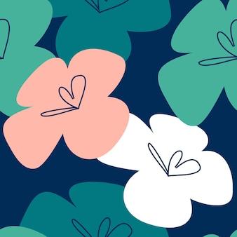 Vektor tropische blumenmuster. nahtloses design mit einfachen botanischen elementen. aloha hawaii bearbeitbare vektordatei. pastellfarben