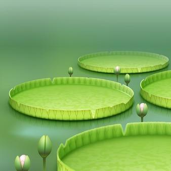 Vektor tropische pflanze riesen amazonas seerose pad oder riesigen schwimmenden lotus victoria amazonica auf grünem unschärfehintergrund