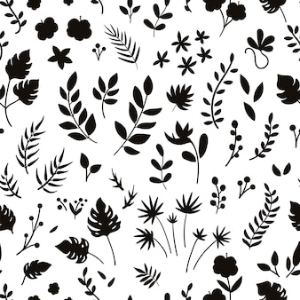 Vektor tropisches nahtloses muster mit blumen, blättern und zweigen silhouetten. dschungellaub und blumenhintergrund. digitales papier mit exotischen pflanzen.