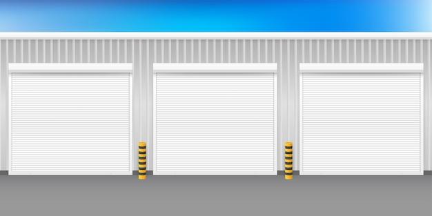 Vektor-tür mit rollläden auf weißem hintergrund. vektor-illustration.