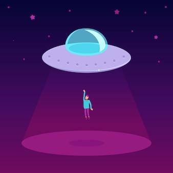 Vektor-ufo-karikaturillustration in der flachen art
