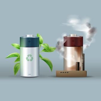Vektor umweltfreundliche batterie mit blättern gegen gefährliche