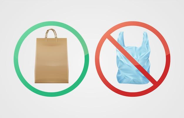 Vektor umweltfreundliche biologisch abbaubare papiertüte gegen nicht abbaubaren kunststoff