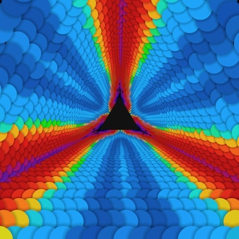 Vektor unendlicher dreieckiger tunnel der bunten kreise auf dunklem hintergrund. kugeln bilden tunnelsektoren.