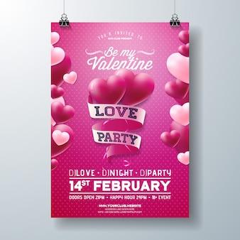 Vektor-valentinsgruß-tagesliebes-party-flieger-design mit typografie auf band und herzen