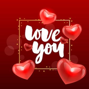 Vektor valentinstag liebe dich hintergrund