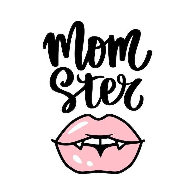 Vektor-vampir-lippen. halloween-nette illustration. mund mit reißzähnen. rosa weibliche lippen lokalisiert auf weißem hintergrund. momster handgezeichneter schriftzug