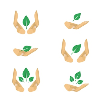 Vektor-varianten von ökologie-schutz-symbole für poster