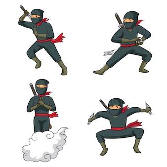 Vektor verschiedener ninjas bewegungen