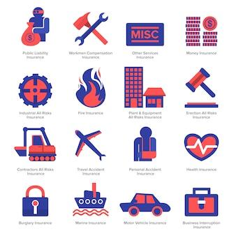 Vektor-versicherungs-icon-design festgelegt