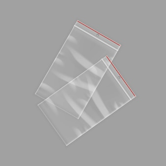 Vektor versiegelte leere transparente kunststoff-reißverschlusstaschen