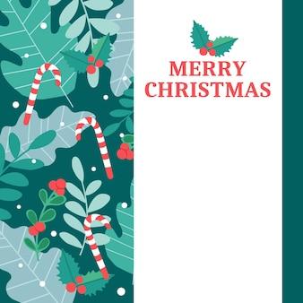 Vektor vertikale weihnachtskarte mit verschiedenen pflanzen und einem platz für den text