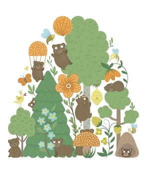 Vektor verzierter hintergrund mit niedlichen waldtieren verlässt bäreninsektenbäume lustige waldszene
