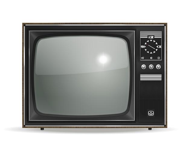 Vektor vintage alter fotorealistischer crt-fernseher auf weiß