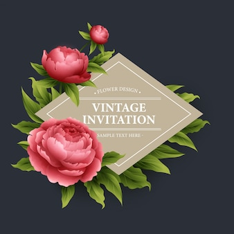 Vektor vintage blumenkarte.