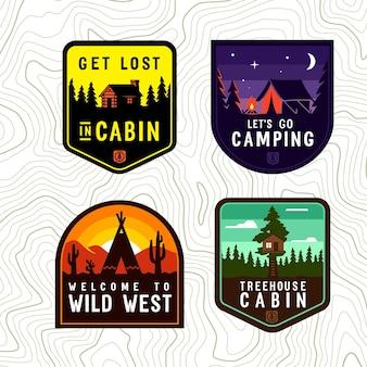 Vektor-vintage-kabine-camping-patch-set