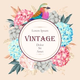 Vektor-vintage-karte mit blumen und einem vogel