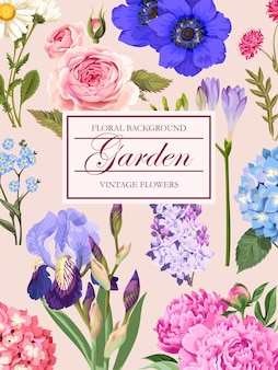 Vektor-vintage-karte mit gartenblumen