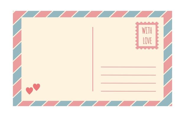 Vektor-vintage-postkartenvorlage isoliert auf weißem hintergrund leere romantische retro-postkarte