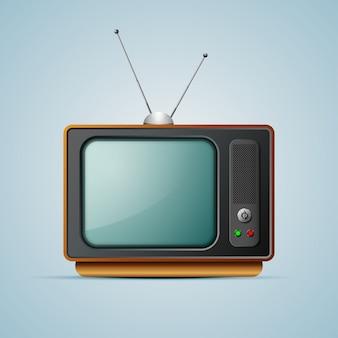Vektor vintage tv 1980er jahre stil auf einem grauen hintergrund