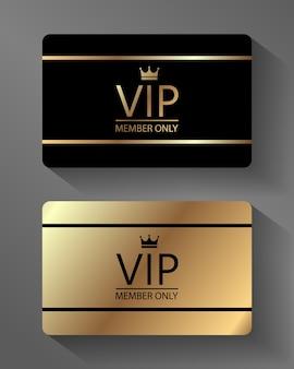 Vektor vip-mitgliedskarte gold und schwarz, premium-qualität