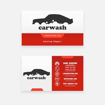 Vektor-visitenkartenlogo für die autowäsche.