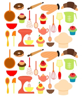 Vektor von bäckereiwerkzeugen.
