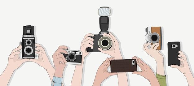 Vektor von händen, die fotos machen