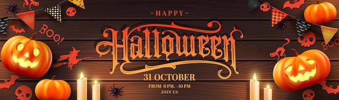Vektor von halloween poster oder banner mit halloween pumpkincandlelight und halloween elements