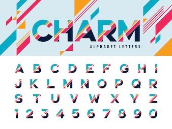 Vektor von modernen Alphabet-Buchstaben und von Zahl