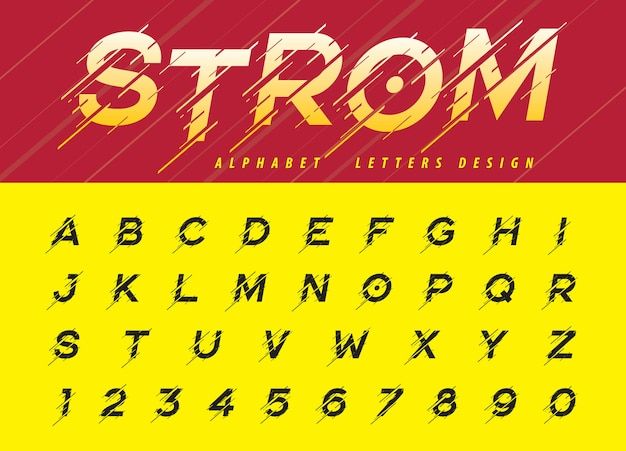 Vektor von störschub-modernen alphabet-buchstaben, beweglicher sturm stilisierte güsse
