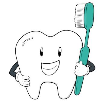Vektor von zahn und zahnbürste