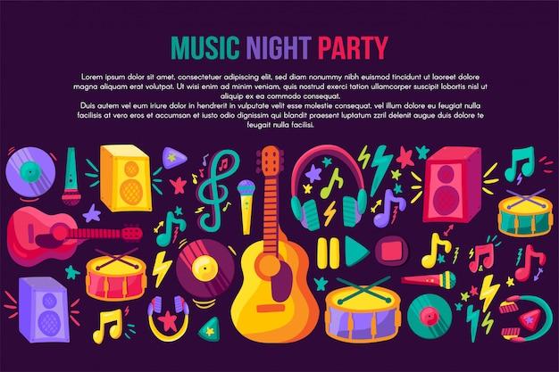 Vektor vorlage für musikalische festivaleinladung