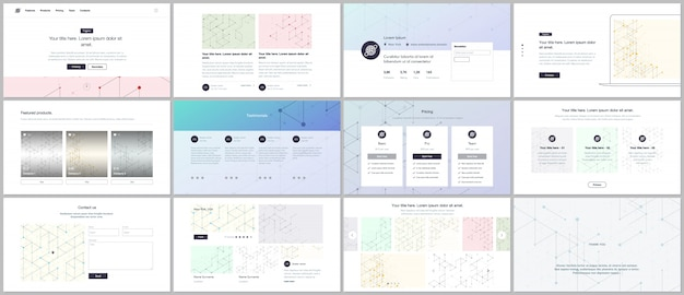Vektor-vorlagen für website-design, minimale präsentationen, portfolio. ui, ux, gui.