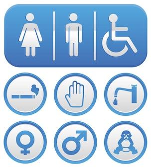 Vektor-wc-zeichen - zusammenfassung in der blauen farbe