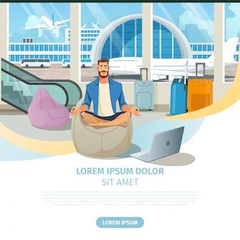 Vektor-website der fluggesellschaft für online-services
