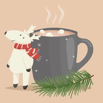 Vektor-weihnachten-cartoon-illustration. eine bemalte tasse tee, kaffee oder kakao mit dem bild eines niedlichen hirsches. zweig der fichte oder kiefer. dekoration für das neue jahr.