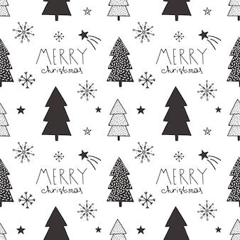 Vektor weihnachten hand gezeichnete nahtlose muster.