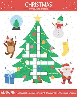 Vektor-weihnachten-kreuzworträtsel für kinder. einfaches quiz mit winterferienobjekten für kinder. bildungsaktivität mit traditionellen neujahrselementen, weihnachtsmann, hirsch, baum, geschenk