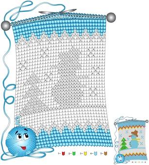 Vektor weihnachten malvorlagen. aufgaben für kinder färben nach zahlen in form eines gestrickten schals mit dem bild eines schneemanns