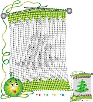 Vektor weihnachten malvorlagen. aufgaben für kinder färben nach zahlen in form eines gestrickten schals mit dem bild eines weihnachtsbaumes