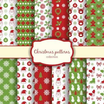 Vektor weihnachten nahtlose muster für weihnachtskarten und geschenkpapier