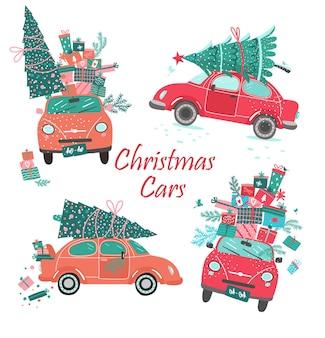 Vektor-weihnachtsautos, die mit baum und geschenken eingestellt werden.