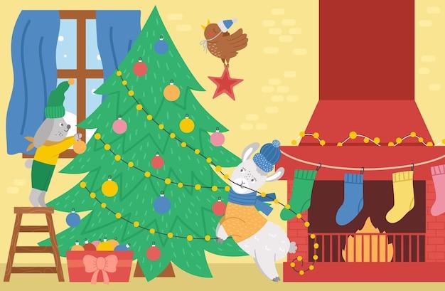 Vektor-weihnachtsbaumdekorationsszene mit netten tieren, schornstein, strümpfen. winterurlaub hintergrund. innenillustration des neuen jahres, einladung oder kartendesign.