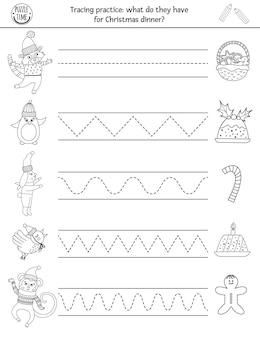 Vektor-weihnachtshandschrift-praxis-arbeitsblatt. winterdruckbare schwarz-weiß-aktivität für kinder im vorschulalter. pädagogisches tracing-spiel zum schreiben von fähigkeiten mit neujahrsfiguren und essen