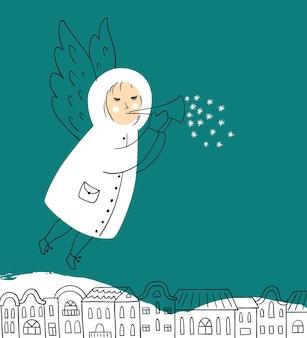 Vektor-weihnachtskarte mit dem engel, der über die stadt fliegt. vektordesign für grußkarten und einladungen.