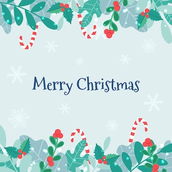 Vektor-weihnachtskarte mit einem rahmen aus pflanzen und einer zuckerstange