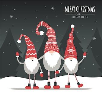 Vektor-weihnachtskarte mit gnomen. festtagsgrüße.