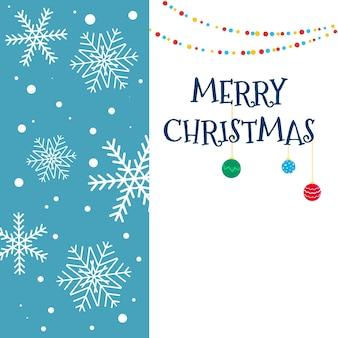 Vektor-weihnachtskarte mit weihnachtsschmuck und vertikalem hintergrundeinsatz mit schneeflocken