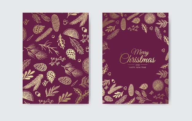 Vektor-weihnachtskarten-satz. weihnachtsfeier-kartenvorlagen